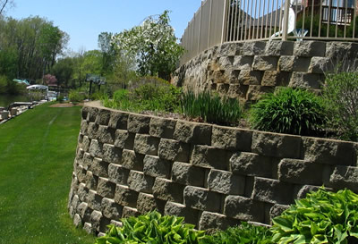 Retaining Wall (Block Contruction) Flowerbed installation, Flowerbed planting (annual and perennial Plants)