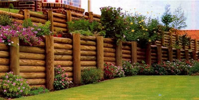 Retaining Wall (Wood Construction), Flowerbed Installation
